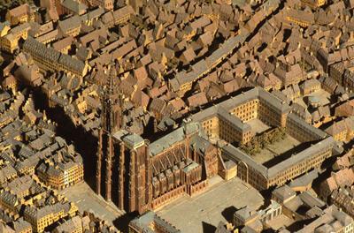 Detalle del plan-relieve de la ciudad de Estrasburgo (este de Francia).