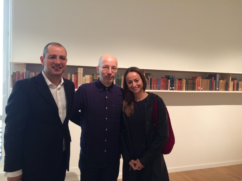 Curador do festival Paulo Pires do Vale, artista francês Pierre Leguillon e a directora da casa Fernando Pessoa, Clara Riso