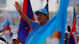 Hun Sen lors d'un meeting pendant la campagne des élections législatives, le 27 juin 2018.