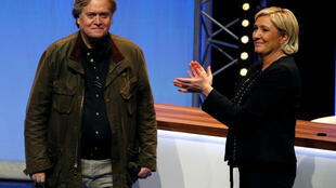 Marine Le Pen, National Front political party leader, and Former White House Chief Strategist Steve Bannon at the Lille conference