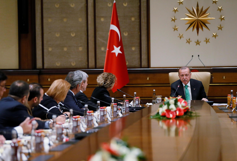 Tổng thống Tayyip Erdogan gặp các doanh nhân Mỹ tại cung điện tổng thống, Ankara, Thổ Nhĩ Kỳ, ngày 19/09/2018