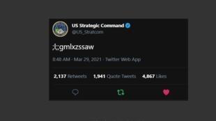 Captura de pantalla del críptico tuit publicado por la cuenta del comando estadounidense de armas nucleares, el 28 de marzo de 2021