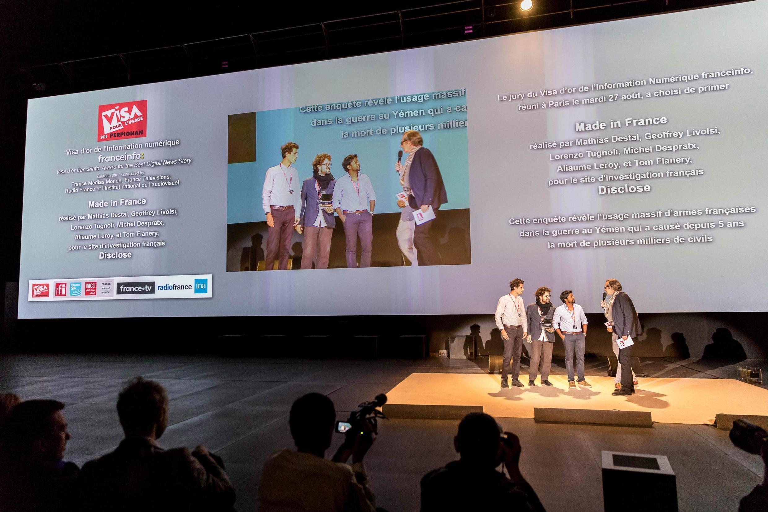 Visa D'or prize for Best Digital News Story awarded to the team at Disclose, September 5, 2019