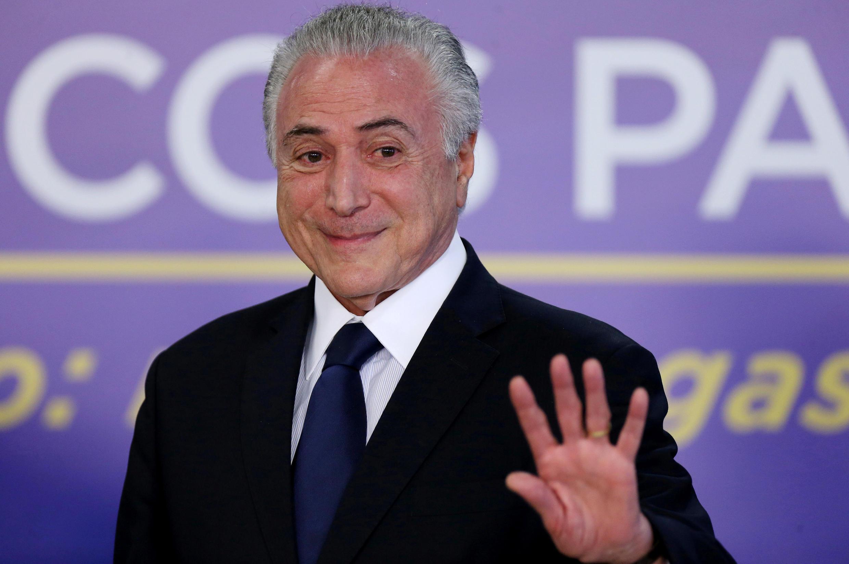 Le president du Brésil, Michel Temer, durant une ceremonie au palais du Planalto au Brésil, le 1 aôut 2017.
