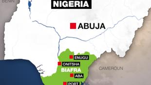 Carte du Nigeria, avec le territoire du Biafra en vert.