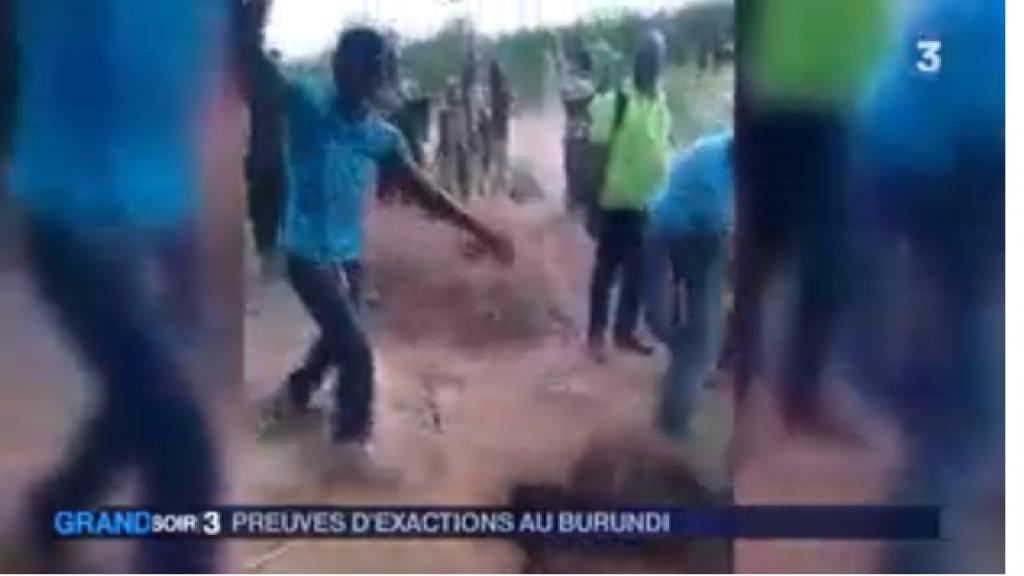Capture d'écran du reportage de France 3, montrant un extrait de la vidéo présentée à tort comme une preuve de violences au Burundi.