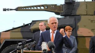 Thủ tướng Úc Malcolm Turnbull nói chuyện với một đơn vị quân đội Úc, ở Brisbane, Australia, 14/03/2018.