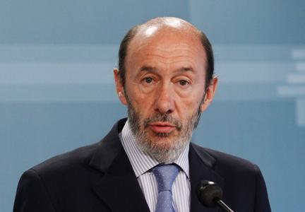 O ministro de Interior espanhol, Alfredo Pérez Rubalcaba.