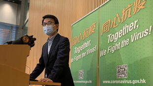 香港商务和经济发展局局长邱腾华2020年11月21日在记者会上。
