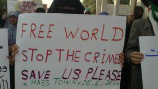 Manifestante pede ajuda internacional para fim do massacre na Síria.
