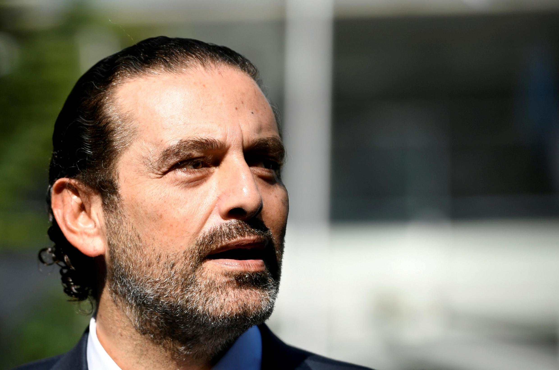 aad Hariri katika mkutano na waandishi wa habari huko Uholanzi, Agosti 14, 2020.