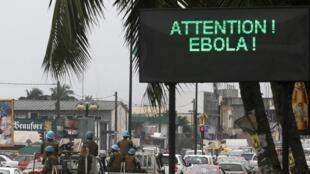 Wani allon dake wayar da kanun jama'a kan cutar Ebola a kasar Côte d'Ivoire.