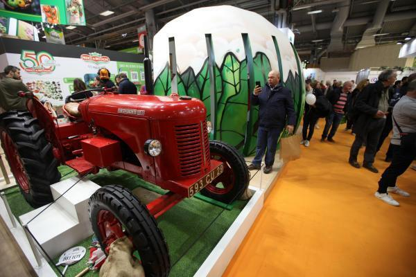 Tractor on display at the yearly agrishow, Porte de Versailles, Paris, 23 February 2020