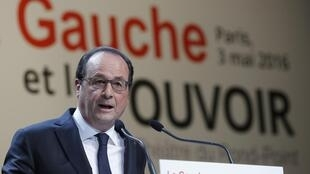 French President François Hollande at a conference on the left and government on Tuesday