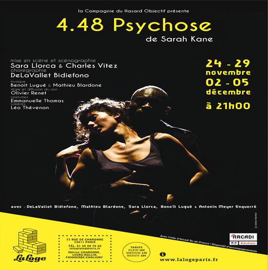 Affiche de la pièce «4.48 psychose» de Sarah Kane.