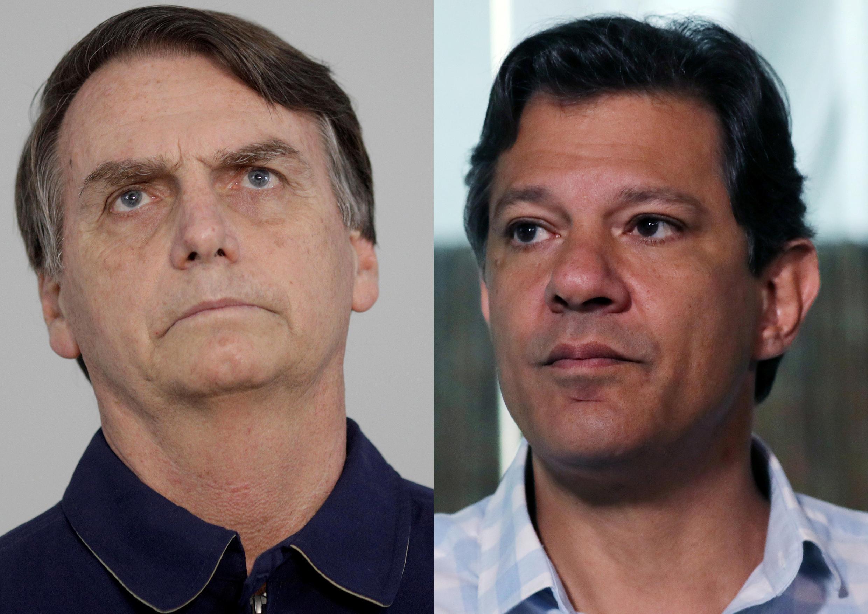 Ai sẽ là tổng thống Brazil: Ứng viên cực hữu Jair Bolsonaro (T) hay ứng viên cánh tả Fernando Haddad (P)?