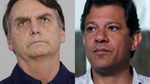 Candidatos à presidência do Brasil Jair Bolsonaro (à esquerda) e Fernando Haddad (à direita).