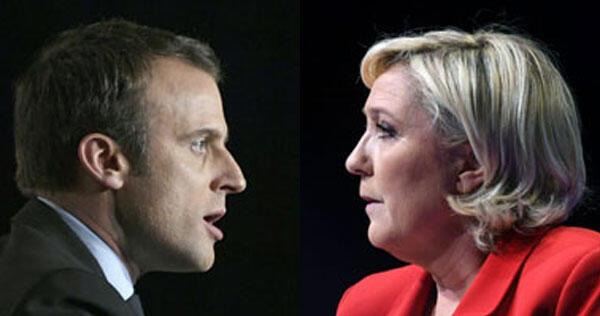 Кандидаты в президенты Франции центрист Эмманюэль Макрон и крайне правая Марин Ле Пен