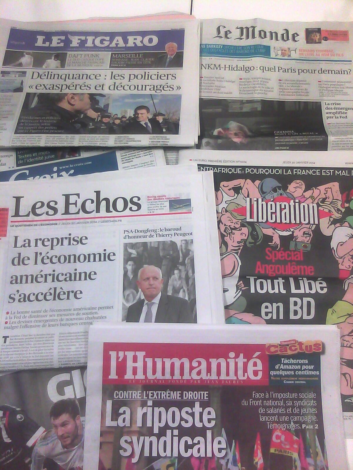 Capas dos diários de 30 de Janeiro de 2014