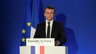 Ông Emmanuel Macron phát biểu tại Paris ngay sau khi thắng cử vòng hai cuộc bầu cử tổng thống Pháp, tối ngày 07/05/2017.