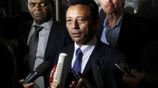 Former Madagascar leader Marc Ravalomanana speaks to journalists at the O.R Tambo airport in Johannesburg