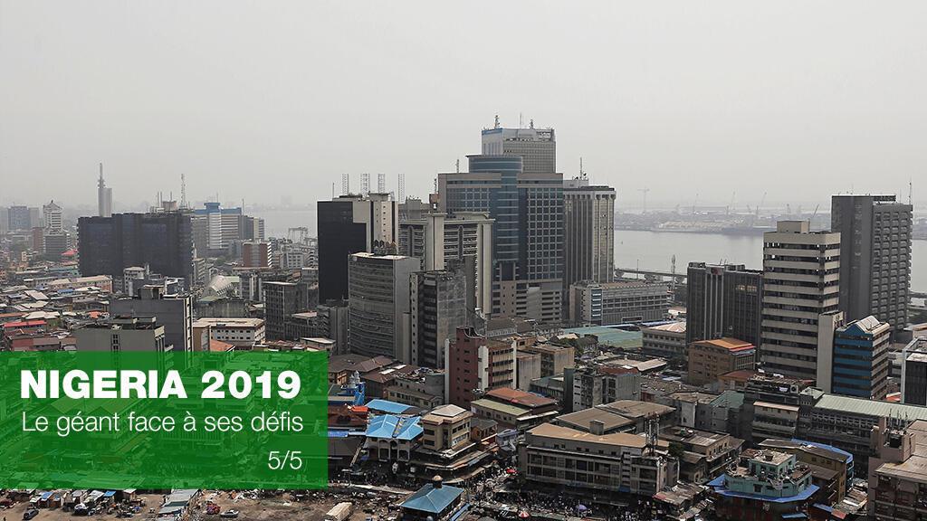 Vue de Lagos au Nigeria, le 10 février 2019.