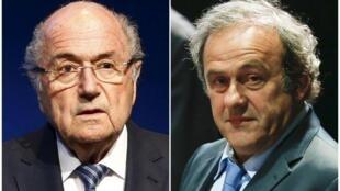 Joseph Blatter (à esq.) e Michel Platini.