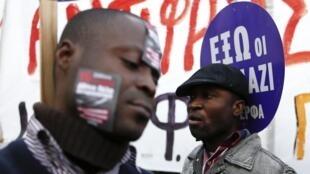 Des immigrés africains ont pris part à la manifestation antiraciste du 19 janvier 2013 à Athènes.