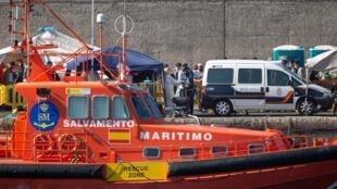 Un buque de Salvamento Marítimo, en Mogán, en la isla española de Gran Canaria, el 20 de noviembre de 2020