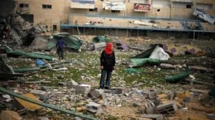 A football stadium destroyed in an Israeli air strike