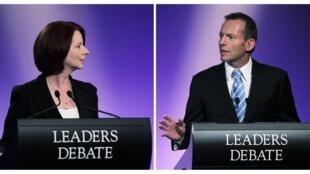 Julia Gillard (L) faces Tony Abbott (R) in debate