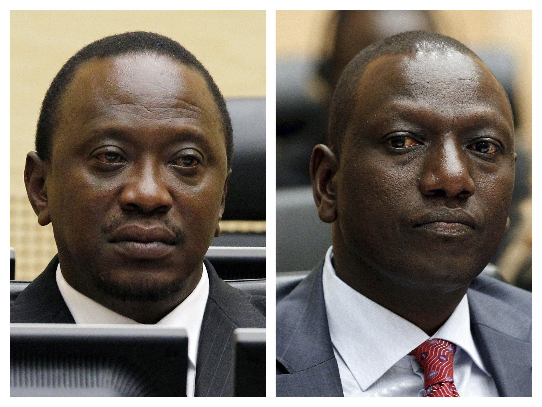 Uhuru Kenyatta (à gauche) et William Ruto (à droite) attendus devant la Cour pénale internationale à La Haye, Pays-Bas.