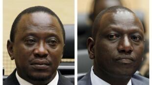 Le président Uhuru Kenyatta (à gauche) et son vice-président William Ruto sont tous les deux poursuivis par la Cour pénale internationale (CPI).