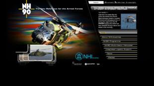 Capture d'écran du site internet de Nhindustries montrant le nouvel hélicoptère, le NH90.