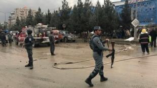 Vikosi vya usalama vya Afghanistan kwenye eneo la tukio, Kabul.
