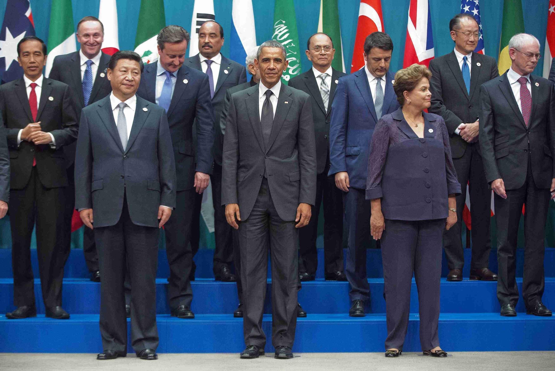 Presidentes da China, Estados Unidos e Brasil, em primeiro plano, na foto oficial da cúpula do G20.