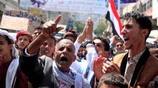 Manifestation contre la dégradation de l'économie et la chute de la monnaie yéménite, à Taiz, le 6 octobre 2018.