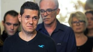 Jonathann Daval cut a distraught figure, appearing in tears at a press conference with his wife's parents