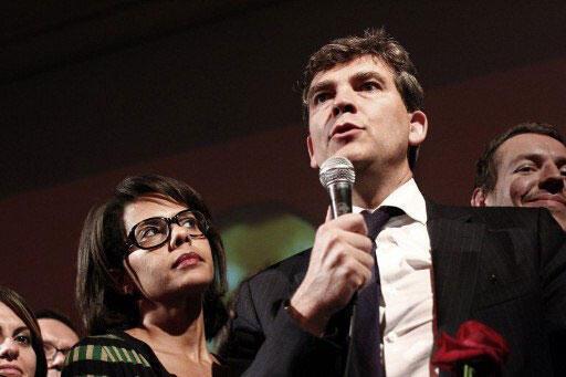 Arnaud Montebourg ao lado de sua mulher, a jornalista Audrey Pulvar.