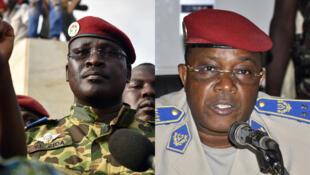 Le lieutenant-colonel Isaac Zida (à gauche, le 31 octobre 2014), et le chef d'état-major Honoré Traoré (archive de 2011).