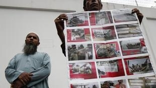 A Rohingya man protests in front of Myanmar's embassy in Bangkok, 23 July, 2012