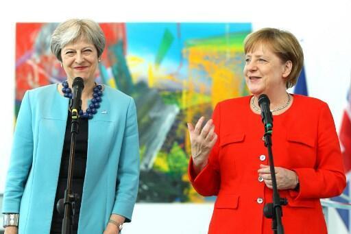 Angela Merkel e Theresa May numa conferência de imprensa em Berlim. 5/07/2018