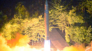 The Intercontinental ballistic missile (ICBM) Hwasong-14 during its second test-fire in this undated picture provided by KCNA in Pyongyang