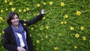 Анн Идальго в парижском институте Мари Кюри, во время проведения кампании по борьбе с онкологическими заболеваниями, 20 марта 2014 года