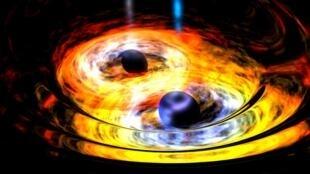 Image d'artiste représentant la collision de deux trous noirs.