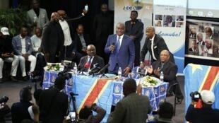 Martin Fayulu, leader de la coalition Lamuka, lors d'une rencontre avec avec la communauté congolaise de Bruxelles le 9 mars 2019 (image d'archives).