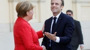 La chancelière allemande, Angela Merkel et le président de la République française, Emmanuel Macron.