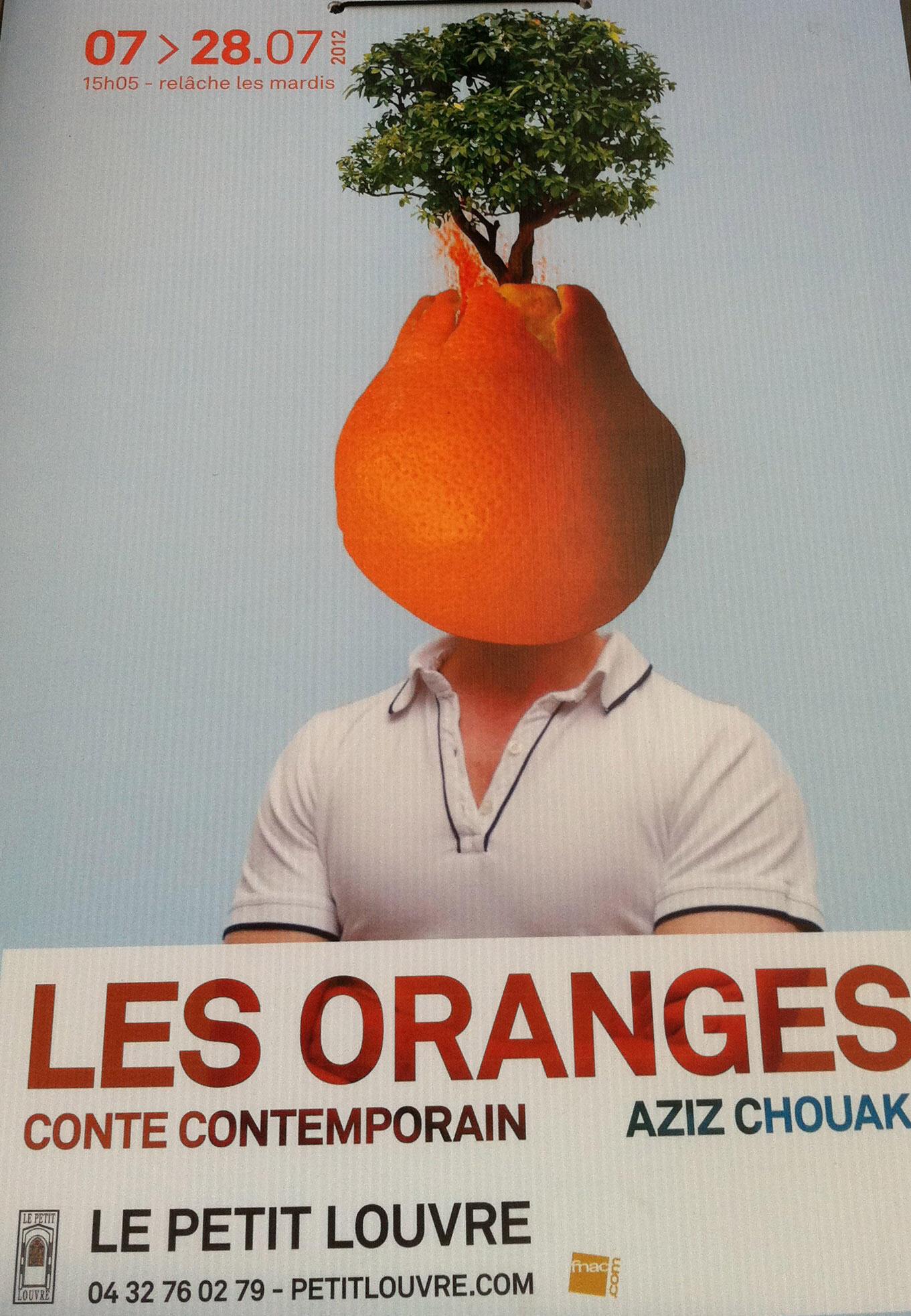 """Cartaz oficial do espetáculo """"Les Oranges""""."""