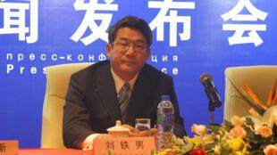 中国国家发改委副主任、国家能源局局长刘铁男2011年9月23-24日在西安召开的欧亚国家能源部长会议新闻发布会上。
