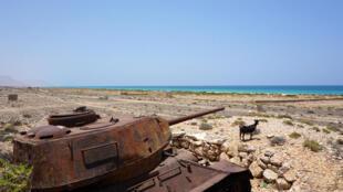 A Soviet-era tank rusts on the northern coast of the Yemeni island of Ghubbah